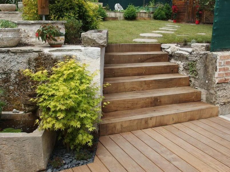 Escalier extérieur bois, traverses